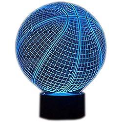 Lámpara 3D Lámpara de noche LED Mesa táctil Lámpara de Baloncesto 7 Colores 3D Lámpara de ilusión óptica Luces de San Valentín