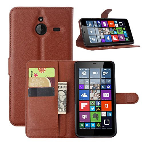 Tasche für Nokia Microsoft Lumia 640 XL Dual-SIM Hülle, Ycloud PU Ledertasche Flip Cover Wallet Case Handyhülle mit Stand Function Credit Card Slots Bookstyle Purse Design braun