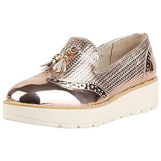 Damen Slipper Plateau Loafers Lack Quasten Dandy Style Schuhe Rose Gold Gold 39