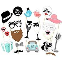 JUNGEN Photo booth Accessoire pour Anniversaire Partie Photo Drôle Les Accessoires Sur Une Bâton Lunettes Bonnet Moustache Lèvre