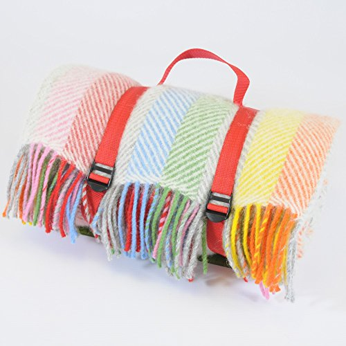 Große reine Wolle Picknickdecke mit wasserdichter Unterseite–Rainbow Grau mit Rot Rückseite und Gurte–Größe 145cm x 183cm