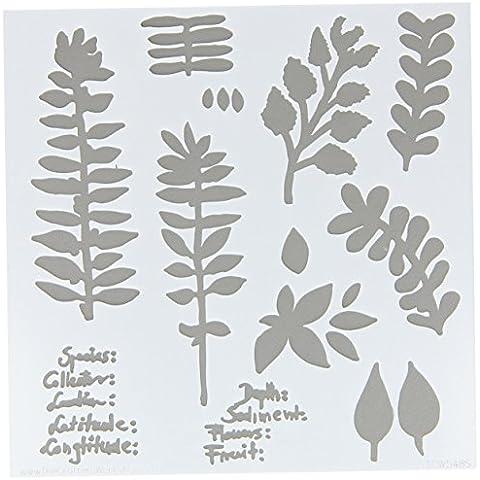 Crafters Workshop-Stencil, in plastica, 15 cm x 15 cm-Erbario