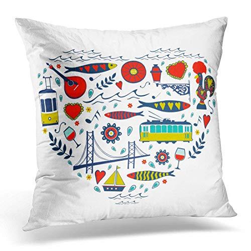 odin sky Dekokissen Abdeckung Hahn gelb Portugal Reise der Liebe für Lissabon Herz dekorative Kissenbezug Home Decor Square Kissenbezug, 45 x 45