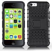 iPhone 5C Outdoor Hülle | JAMMYLIZARD Schutzhülle [Alligator] Doppelschutz Handyhülle Hardcase aus Polycarbonat und Silikon Backcover Lifeproof Case Cover, Schwarz