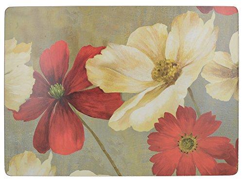 Creative Tops Flower Study Premium-Tischsets mit Korkrückseite im 4-teiligen Set, 40 x 29 cm (15¾ x 11½ Zoll) (Rot Kork Tischsets)