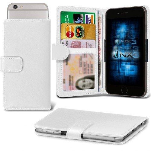 Galaxy A7 / Galaxy A7 Duos Titular de la tarjeta identificación de la carpeta de muelle ajustable cubierta de la caja (Blanco) Plus de regalo libre, Protector de pantalla y un lápiz óptico, Solicitar ahora mejor caja del teléfono Valorado en Amazon! By FinestPhoneCases