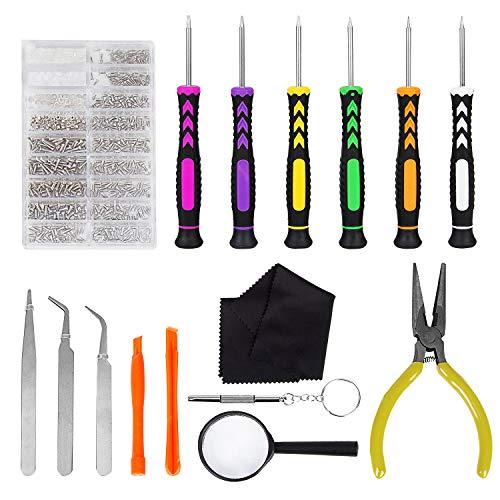 Hakkin Schraubenzieher Brillen Reparatur Öffnungs Werkzeug Kit Schraubendreher Set Komplettes Premium für Brillen Sonnenbrillen Uhrmacher und Handy