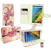 """Emartbuy® Motorola Moto G ( 2014 ) 5 """" Inch 2nd Generation / Moto G2 Dual Sim / Moto G2 Brieftaschen Wallet Etui Hülle Case Cover aus PU Leder Rosa Blossom mit KRotitkartenfächern"""