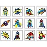 HENBRANDT 24 Temporary super hero tattoos children kids goody party pinatta fillers
