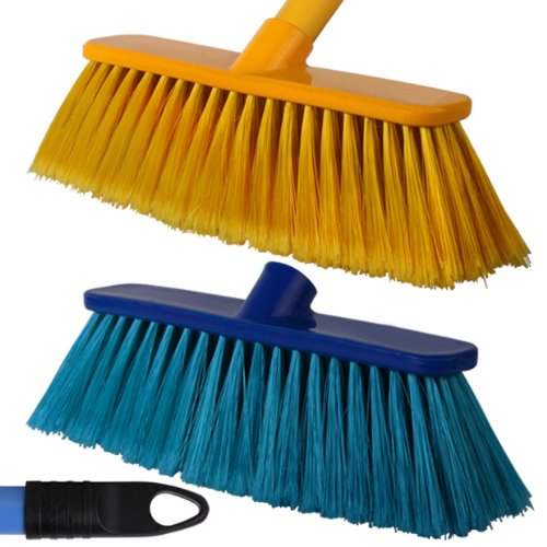 2-pack-of-28cm-blue-yellow-soft-deluxe-floor-sweeping-brush-brooms-with-120cm-handle-comes-with-tch-