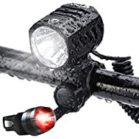 Te-Rich B01HI48VKQ, Te-Rich USB Rechargeable Bike Lights Waterproof LED Headlamp With Free Taillight Black