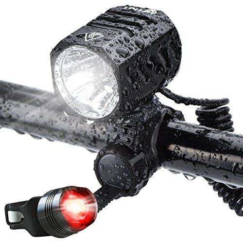 LED Fahrradbeleuchtung, LED Akkuanzeige, 1200 lm, 4 Lichtmodi, Sport Fahrradlampe, USB Aufladbar Akku, USB Fahrradlicht mit Rücklicht, Fahrradhalterung