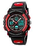 Jungen Jugendliche Kinder Digital Sport Uhren Multifunktion 50M Wasserdicht Elektronisch Stunden Digital Armbanduhr mit Stoppuhr LED Licht Alarm für Kinderuhr (Rot)