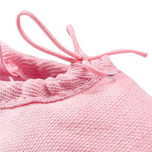 Panegy - Chaussures de Ballet Demie Pointe en Toile Enfants Filles - Chaussures Ballerine Fille Antidérapantes - Couleur Rouge - Taille 28 Rose