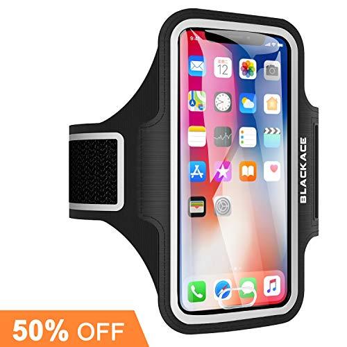 Blackace iPhone Running Sportarmband, Wasserabweisender Handyhalter + Schlüsselhalter mit Fingerabdruck-Touch für iPhone X / 8/7/6/5, Galaxy S7 / S6 / S4, Hinweis 4, LG, Moto (4 Farben) (Schwarz)