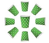 50x Vasos 200ml Dots Verde, vasos de papel, vasos desechables para bebidas aperitivos Bebidas Calientes y Frías