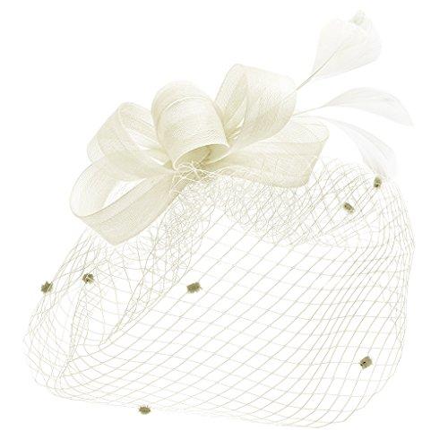 Schwarz, Rot, Hut Weiß, (Braut Fascinator Haarschmuck Kopfbedeckung mit Schleier für Hochzeit Kostüm Karneval Fasching, Damen Mini Hut Haar Clip Hut für Cocktail Party)