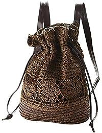 Leisial Mochila de Hombro de Paja Playa Hueco de Verano Retro Bolso de Viaje Pura Mano de Ganchillo Straw Bag para Mujeres