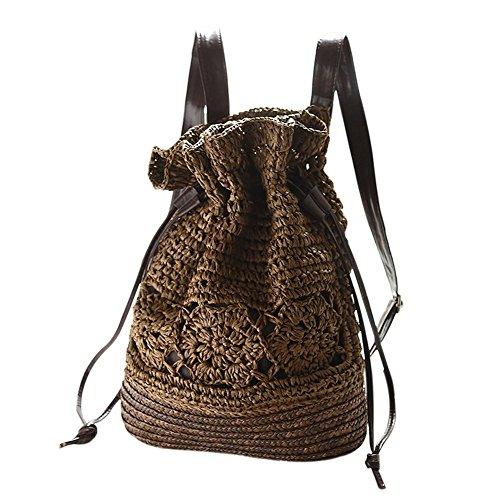 Imagen de leisial casual moda de  bolsa de paja playa verano vintage bolso de viaje pura mano de ganchillo straw bag para mujeres color café