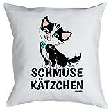 Deko/Fun-Kissen mit Füllung Katzen-Motiv: Schmuse Kätzchen