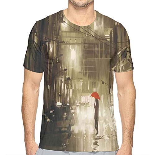 Butterfly-lady-print-tee (3D Printed T Shirts,Woman with Red Umbrella In Street at Rainy Night In Town Shadow Urban Scenery XXL)
