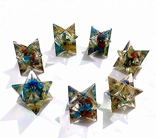 Healing Crystals India 7 Steine Chakra Orgonit EMF Schutz Bogen Engel Metatrone Markaba Stern Set 7 Stück + eBook über Kristall Healing by Master Abhishek Pandit