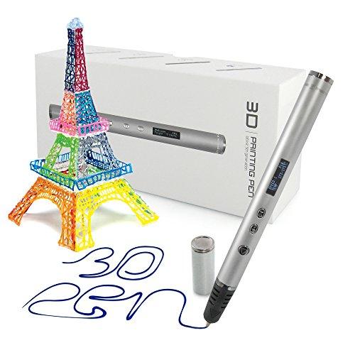 Künstler-kunst-druck (Professionelle 3D Druck Stift mit OLED-Display für Kunst, Modellierung, Druck- und Handwerk, mit Pla/ABS-Fasern + 3 gratis 1,75 mm Filament Nachfüllungen kompatibel, ideal als Geschenk für Kinder und Erwachsene (Silber))