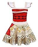 AmzBarley Disfraz de Princesa Moana Vestir Aventuras para Ni?as Ni?os Fiesta Cosplay Disfraces 9-10 A?os