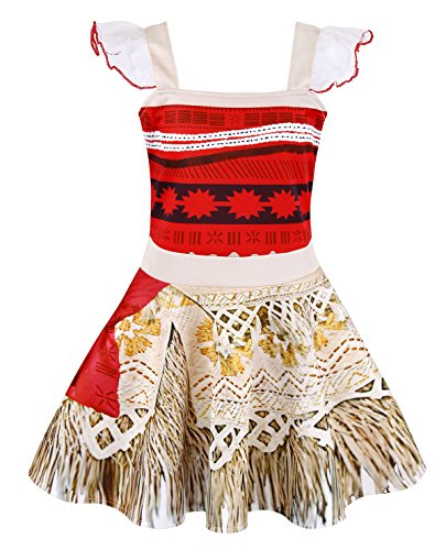 AmzBarley Princess Moana Dress Adventure Costume for Girls Kids Party Cosplay Fancy Dress up