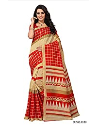 Fabwomen Sarees Floral Print Multicolor And Maroon Coloured Cotton Silk Fashion Party Wear Women's Saree/Sari...
