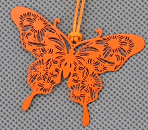Hi_Smile - Segnalibro in metallo a forma di farfalla, per la lettura, orange, 6x4cm