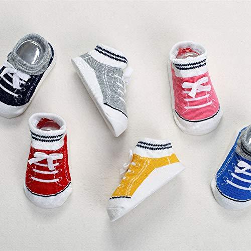 ZXYSHOP Baby Kleinkind Jungen Schuhe Siehe Socken - rutschfeste Sohlen - Weiche Baumwolle - 6 Paar - Baby Shower Geschenke - 0-3 Jahre alt,6PACK,S -
