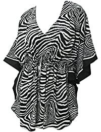 La Leela Beach Cover ups Dresses Swimsuit Blouse Caftan Bikini Bathing Resortwear Gifts Kaftan Tops Tunic For Women's Soft Fabric Printed Plus Size Drawstring Black White Gift Spring Summer 2017