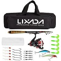 Lixada Kit complet avec canne à pêche télescopique, moulinet, fil à pêche, leurres, étui et hameçons