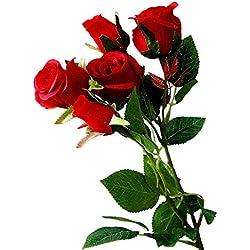 Danigrefinb Künstliche Rosenpflanze für Familie, Party, Hochzeit, 1 Stück rot
