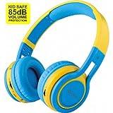 Contixo KB2600 Kid Safe 85db Pliable Sans Fil Bluetooth Casque Intégré Microphone, Lecteur De Carte Micro SD, FM Stéréo Radio (Bleu)