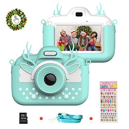 Vannico Appareil Photo Enfants HD 8 MP Caméra Enfants Portable Double Lentille avec Carte 16GB TF, avec Fonction Selfie, Écran Tactile LCD 3,0 Pouces, 3-10 Ans Fille Garçon Cadeau De Noël (Bleu)