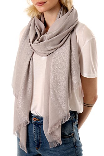 Style Slice Damen Schal Elegant Silber Glitzer Faden - Rosa Pink Dunkelgrau Taupe - Herbst Winter...