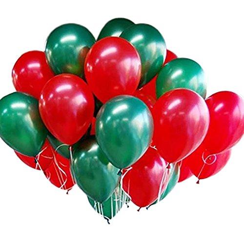 Wakerda 100 Piezas de Globos de látex de Navidad Verde y Rojo Globos de Fiesta de Navidad Decoraciones Fiesta perlada decoración cumpleaños Decoraciones de la Fiesta
