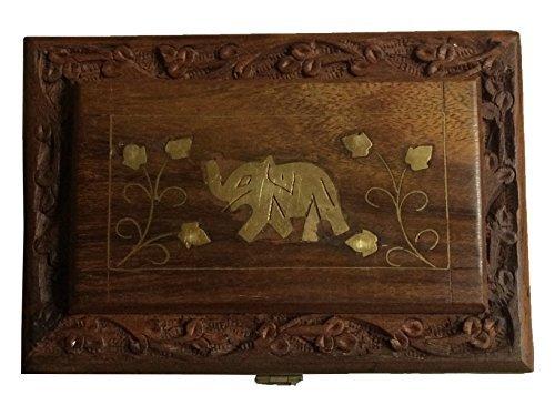 Cadeau pour Noël ou d'anniversaire de vos proches Bois Handcrafted Indian Jewelry Box incrustation de laiton unique Elephant conception 6 x 4 pouces