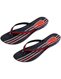 Indistar Combo Pack Of 2 Pair Of Stylish Women Sandal-Black/Red
