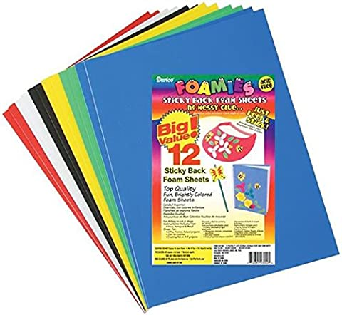 Darice Foam Sticky Back Sheets 9-inch x 12-inch -Basic Colors