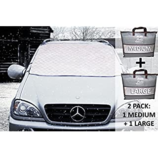 JiGMO Magnetic Car Windshield Cover (2 pack - 1 Large + 1 Medium) With 2 Mirror Covers