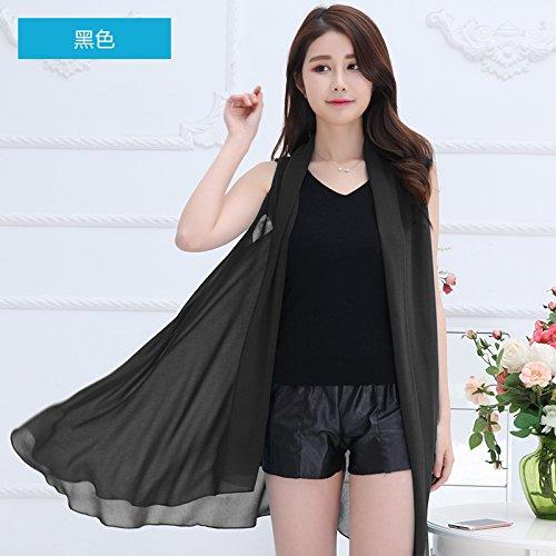 upper-magia changeantes mantón Echarpe Foulards Femmes Printemps été soleil Long multifonctionnel Chiffon Chemises, serviettes de plage noir