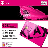 T-Mobile PrePaid voice SIM only with 1500mins 1500sms 3GB LTE data credit for Austria Triple SIM Card