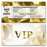 (50 x) Hochzeitseinladungen VIP Party Edel Gold Ticket Einladungskarten Hochzeit