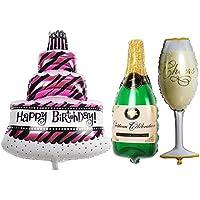 TRIXES Set de 3 Grandes Globos Fiesta de Cumpleaños Formas Pastel Botella de Champán y Copa