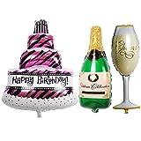 TRIXES Set mit 3 großen Geburtstag Party Luftballons Kuchen Champagner Flasche und Sektglas