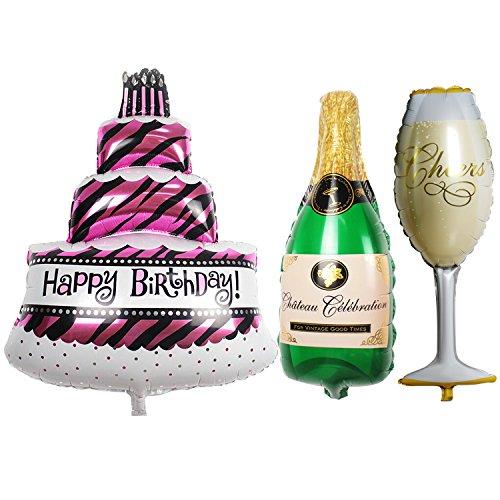 TRIXES Set da 3 Palloncini grandi per festa di compleanno a forma di torta, bottiglia di champagne e