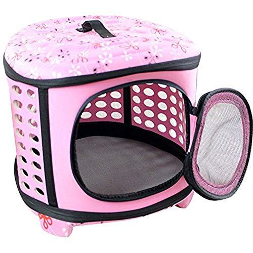 Gaodaweian Haustierkäfige für Hunde Tragbare und Faltbare Eva Transportbox Kleiner Hund Katze Reisetasche Käfig Tote Kiste Komfort Transport Haustierkäfige für Katzen (Color : Pink)